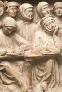 A detail from the tomb of Giovanni da Legnano (d. 1383), Museo civico medievale, Bologna.